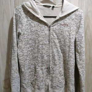Hurley Zip up hoodie Print White/Gray Sz M